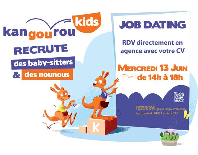 Affiche job dating kangourou kids